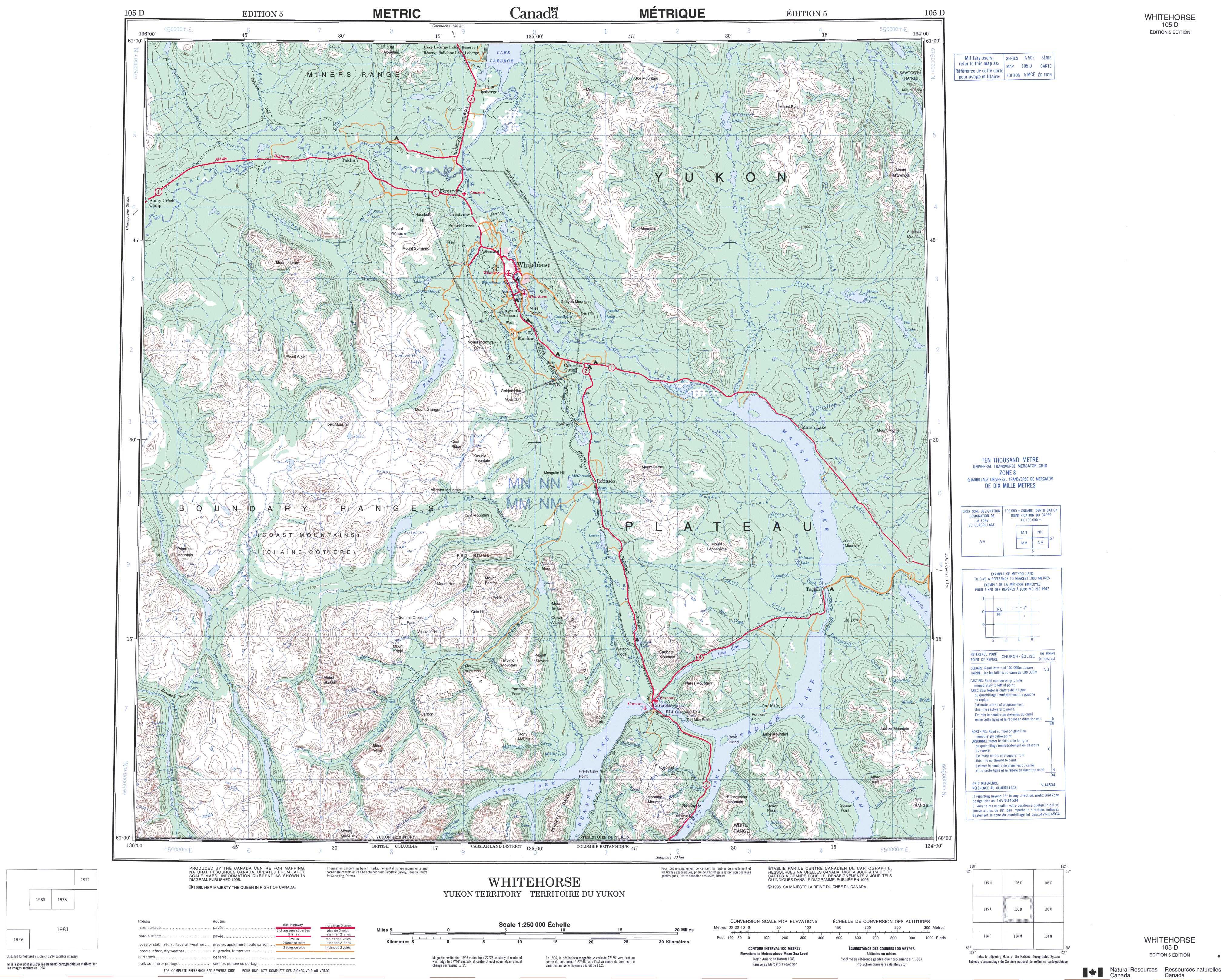 Printable Topographic Map Of Whitehorse 105D, Yk - Free Printable Topo Maps