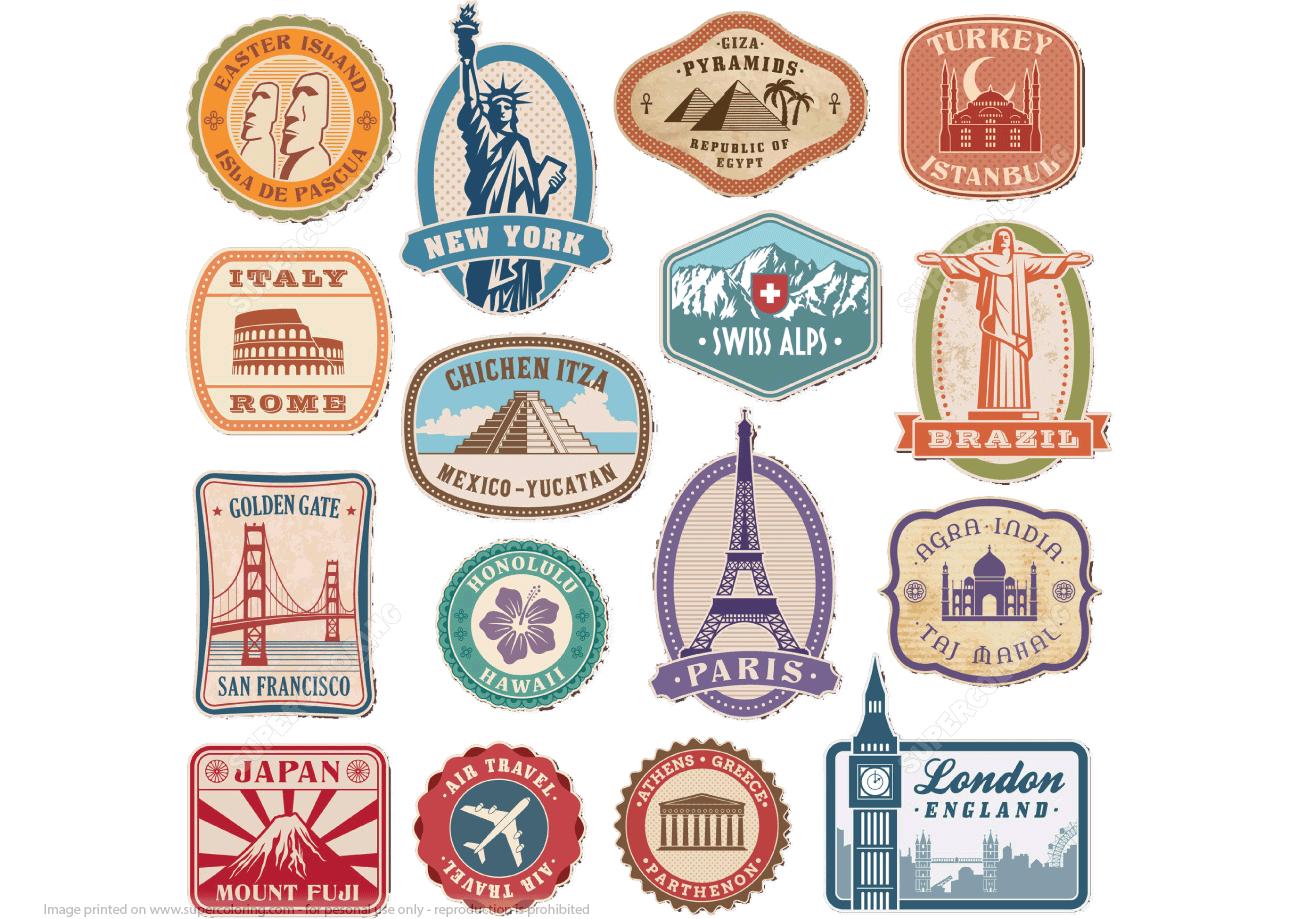 Printable Vintage Travel Stickers   Free Printable Papercraft Templates - Free Printable Travel Stickers