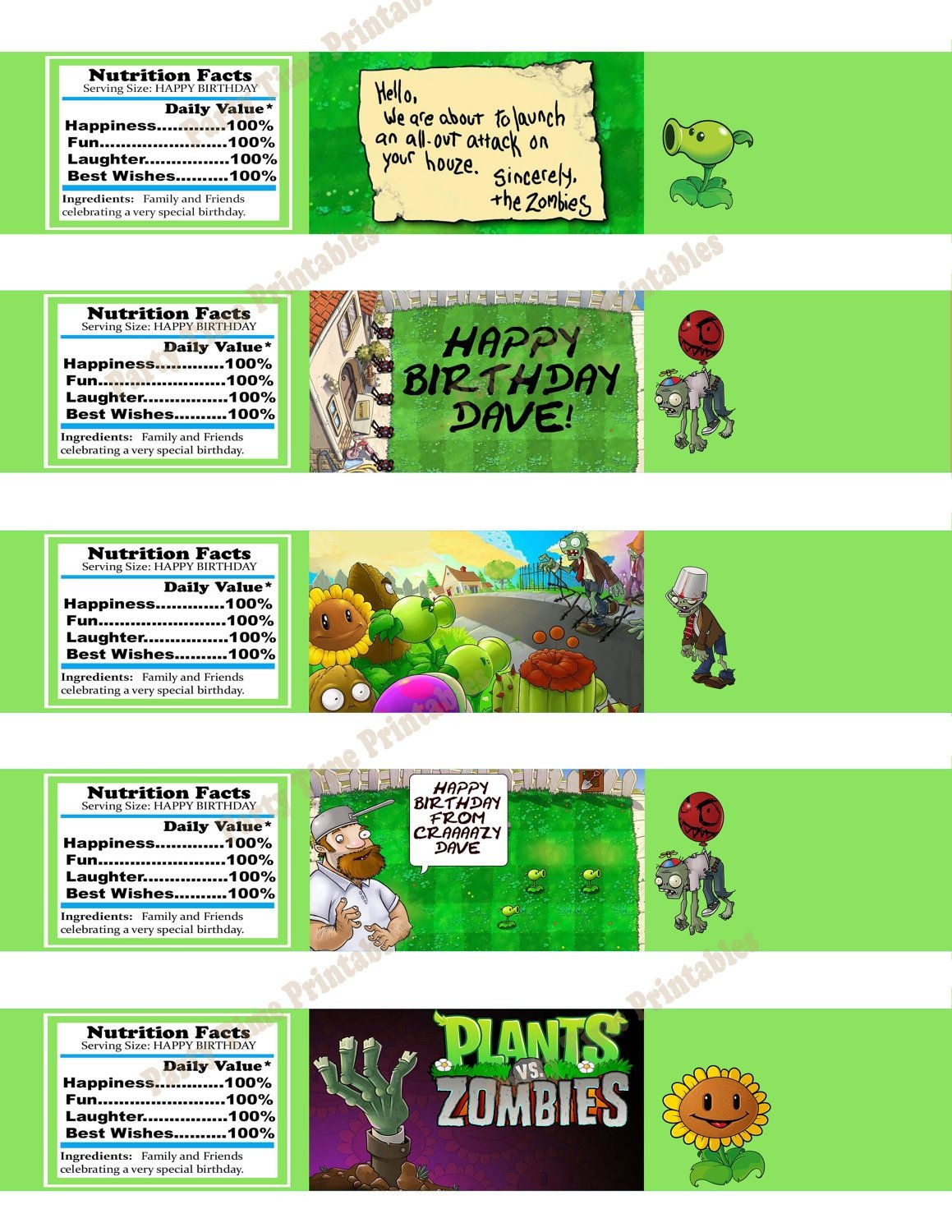 Printable Water Bottle Label- Party Printables - Plants Vs Zombies - Plants Vs Zombies Free Printable Invitations