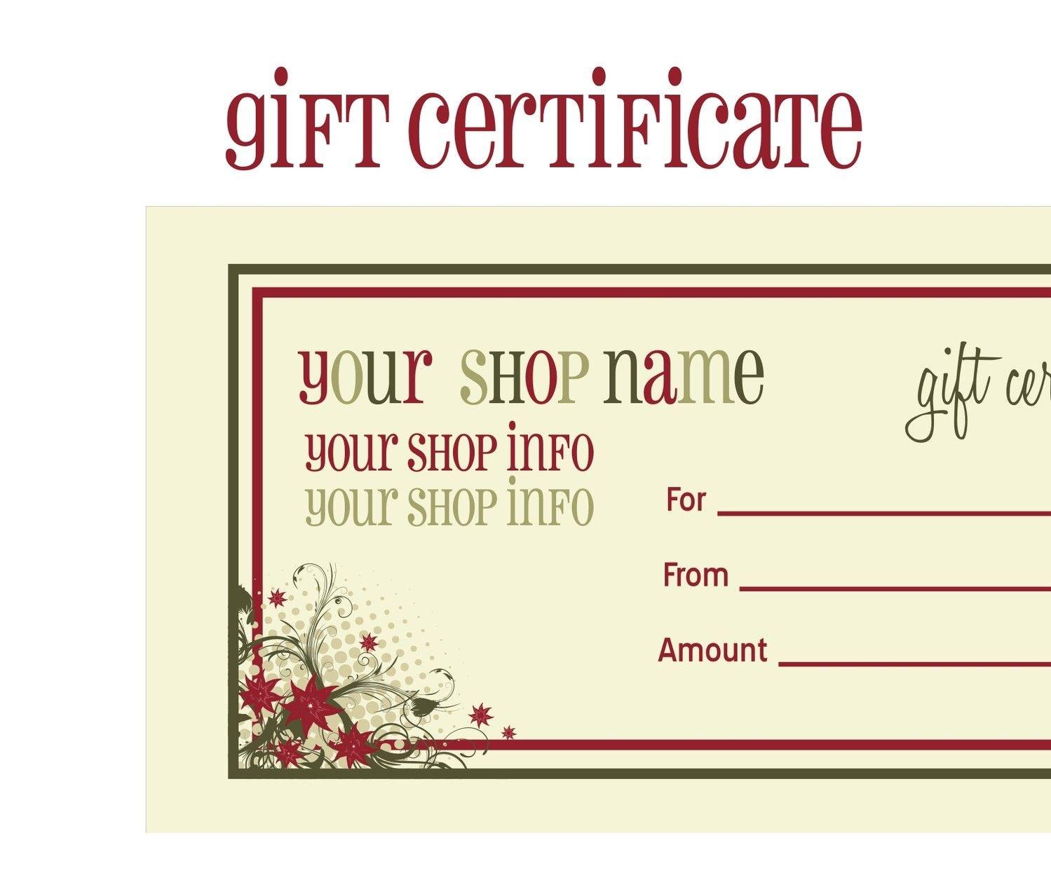 Printable+Christmas+Gift+Certificate+Template   Massage Certificate - Free Printable Gift Certificates For Hair Salon