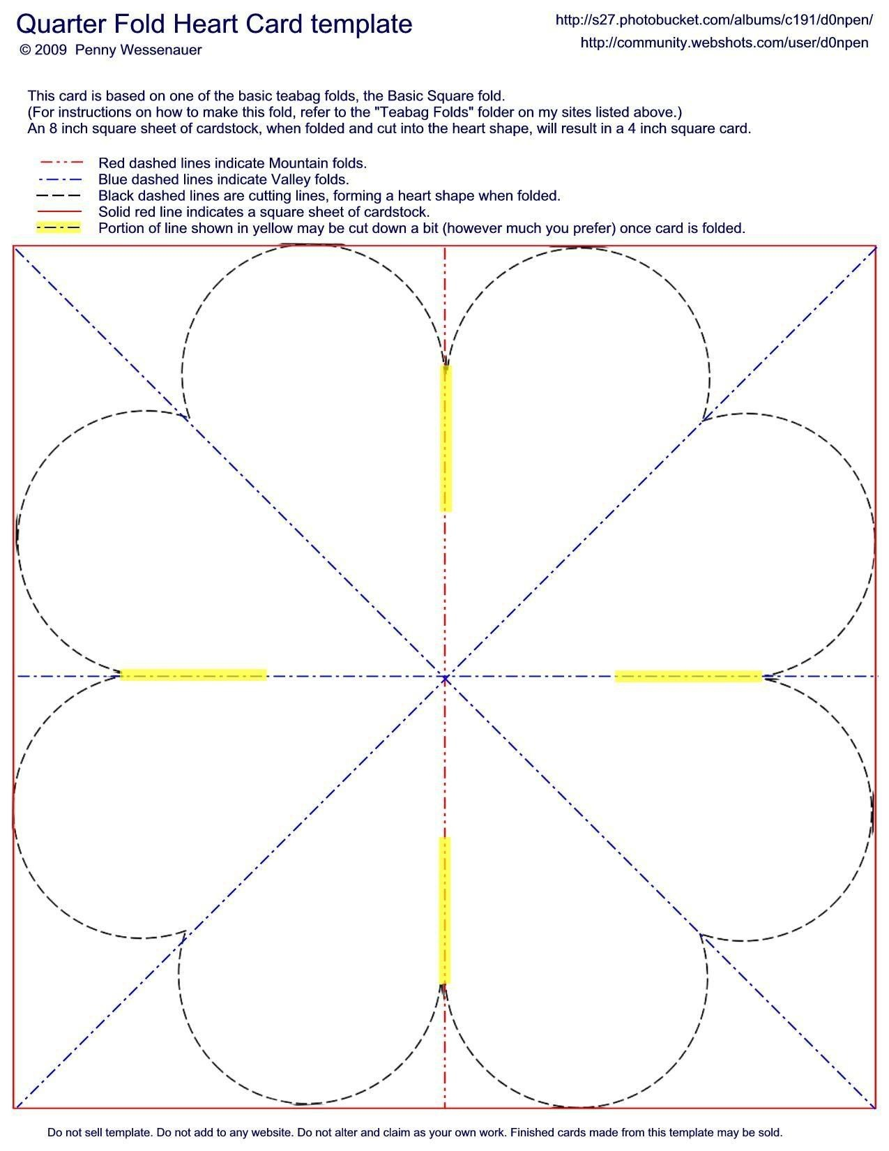 Quarter-Fold Heart Card Template   Valentines   Card Making - Free Printable Quarter Fold Christmas Cards