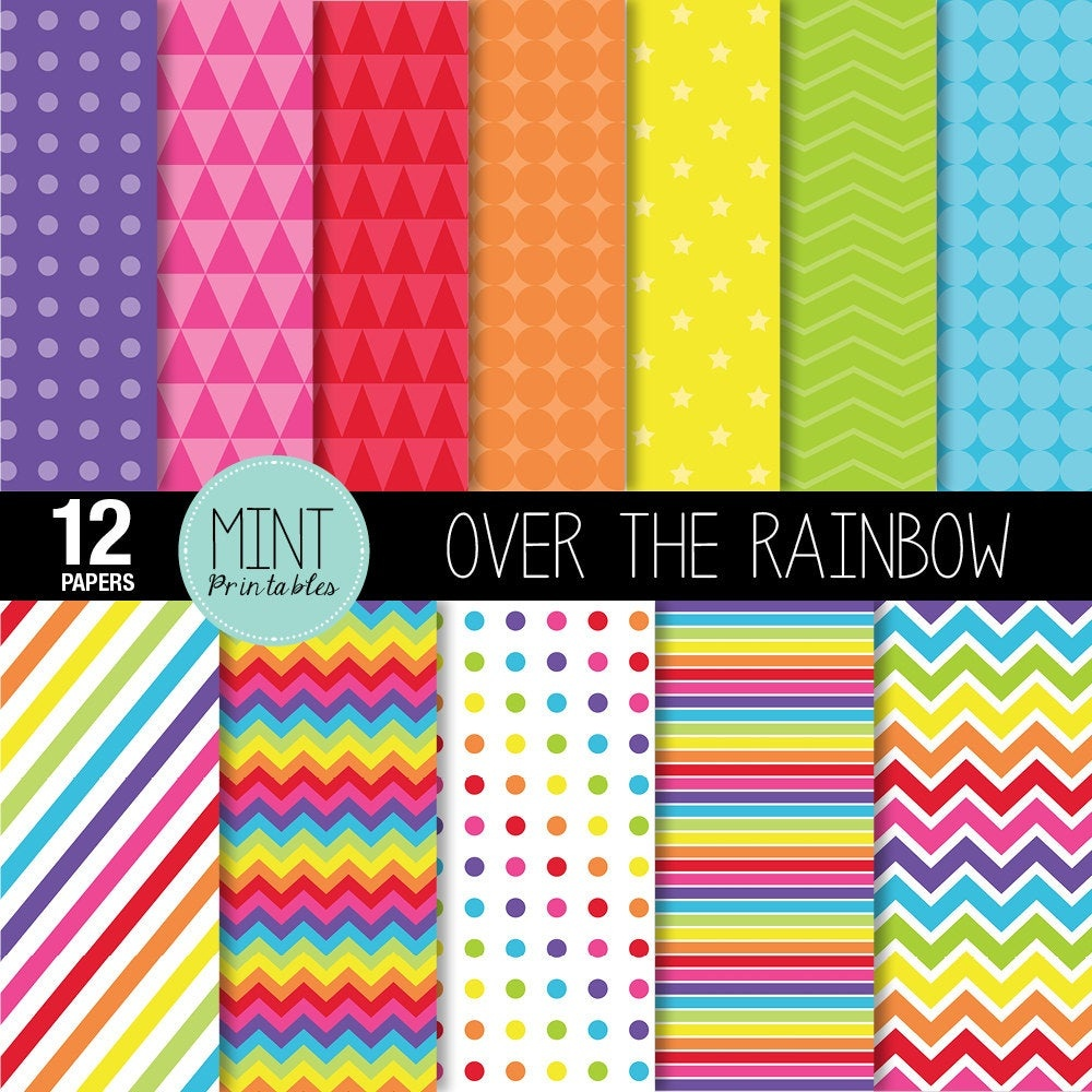 Rainbow Digital Paper Bright Rainbow Colored Scrapbooking   Etsy - Free Printable Pattern Paper Sheets