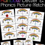 Rainbow Letter And Phonics Picture Match Free Printable | Abcs   Free Printable Rainbow Letters