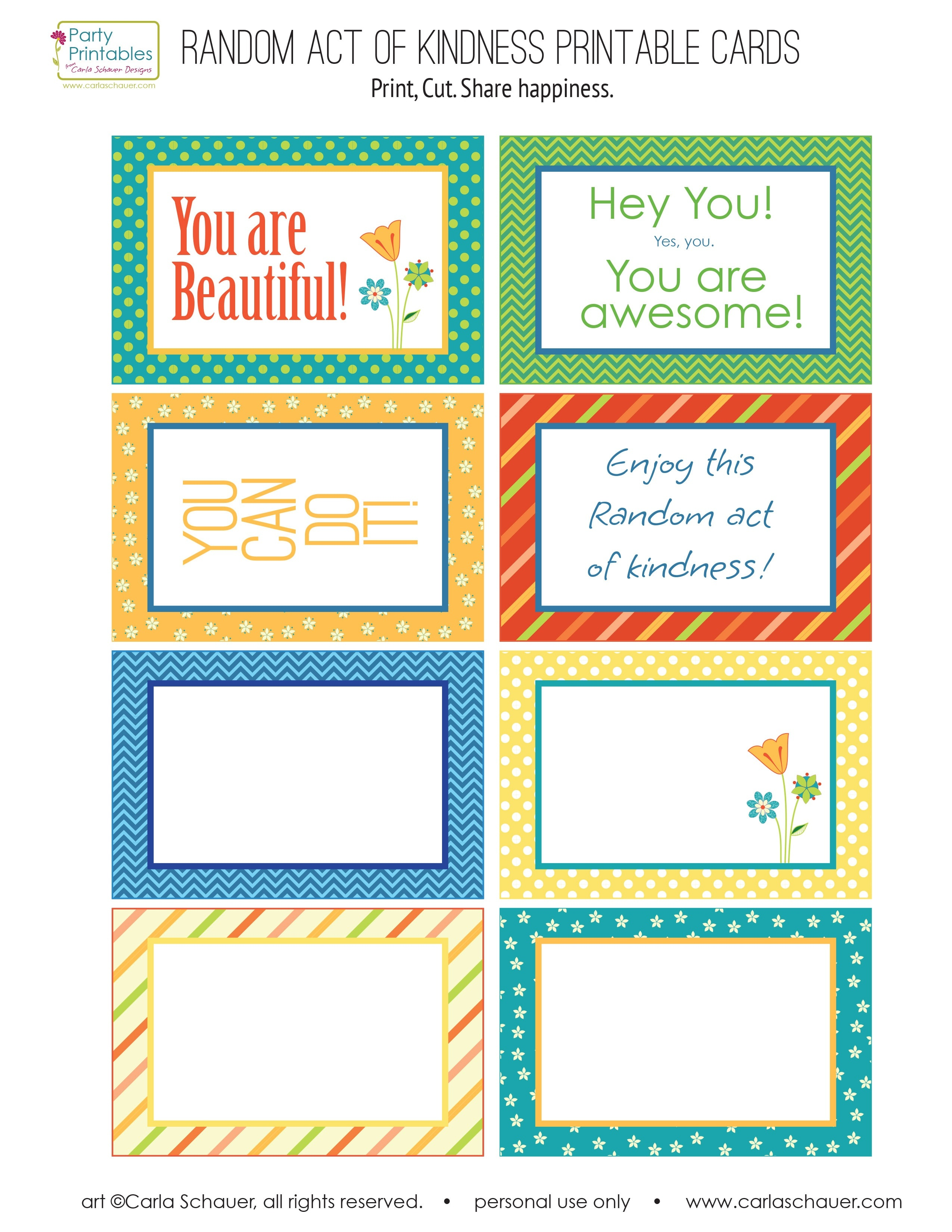 Random Act Of Kindness Free Printables   Carla Schauer Designs - Free Printable Kindness Cards