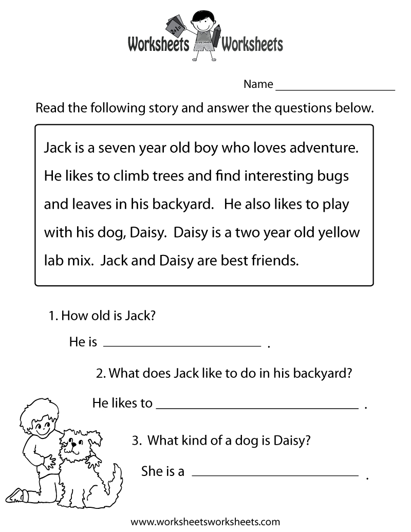 Reading Comprehension Practice Worksheet   Education   1St Grade - Free Printable Reading Games For 2Nd Graders