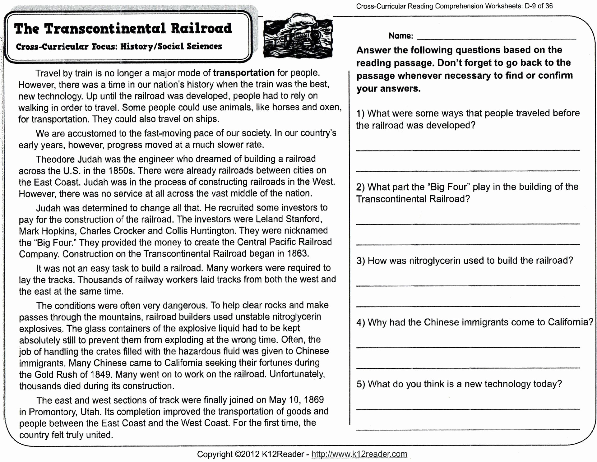 Reading Comprehension Worksheets For 8Th Grade Free Report Templates - Free Printable Worksheets Reading Comprehension 5Th Grade
