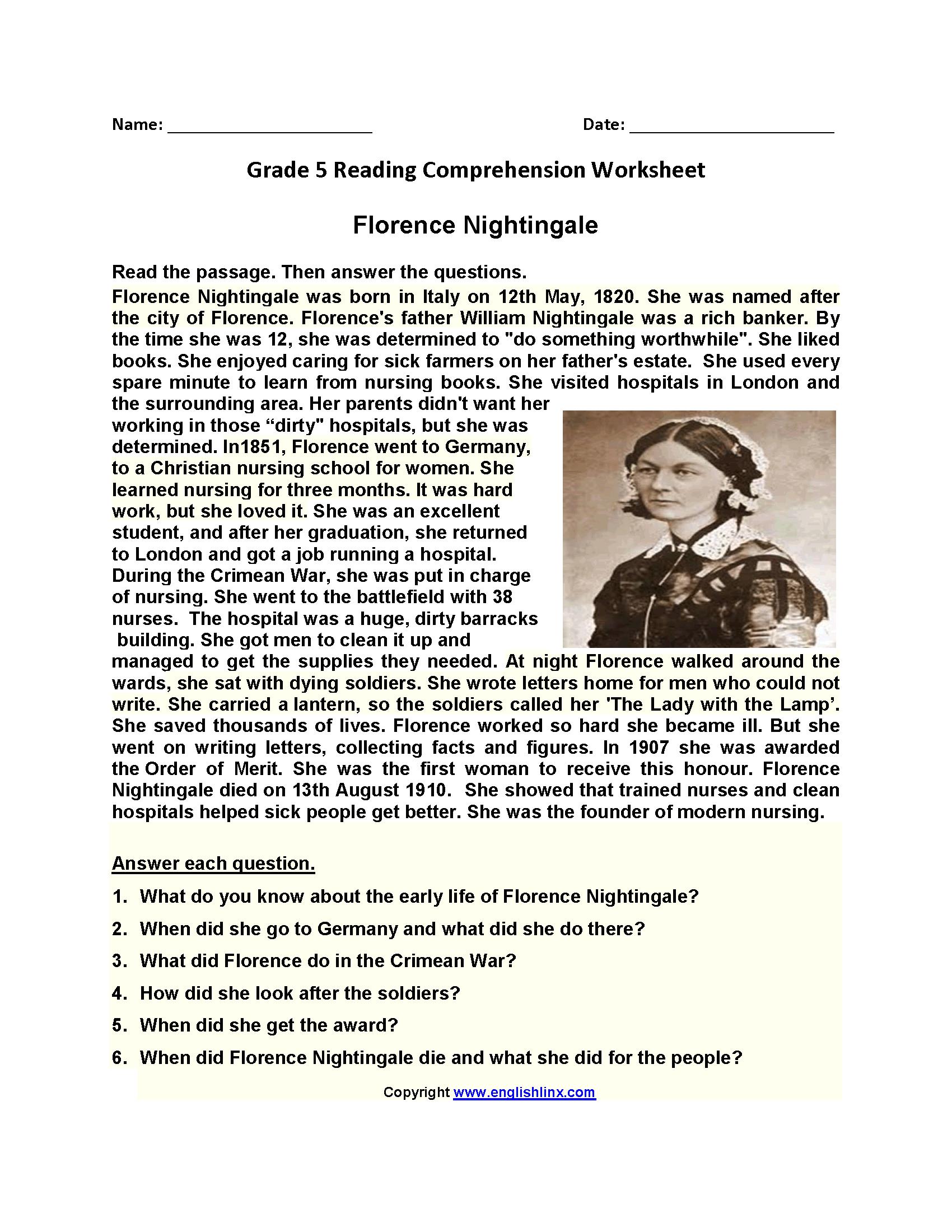 Reading Worksheets | Fifth Grade Reading Worksheets - Free Printable Worksheets Reading Comprehension 5Th Grade