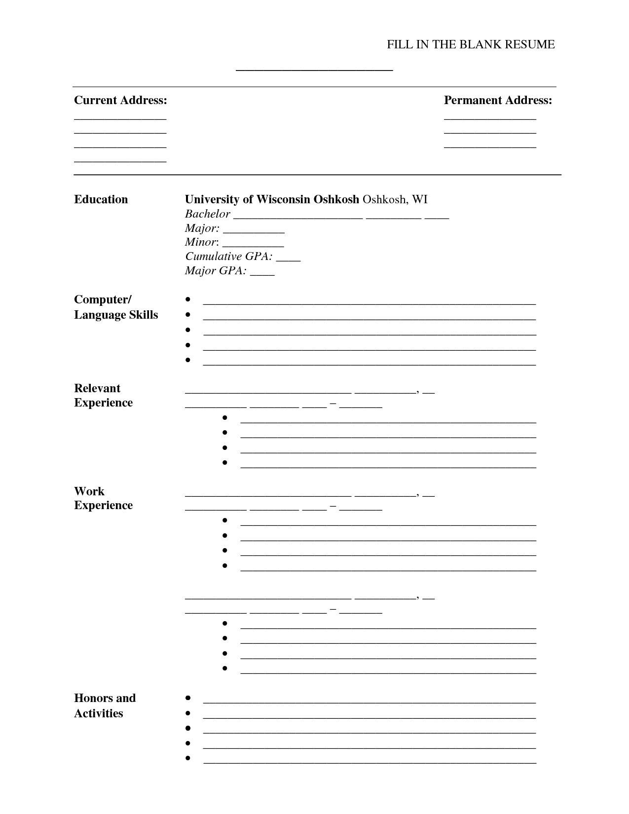 Resume Templates Blank Free Printable New Free Printable Resume - Free Printable Fill In The Blank Resume Templates