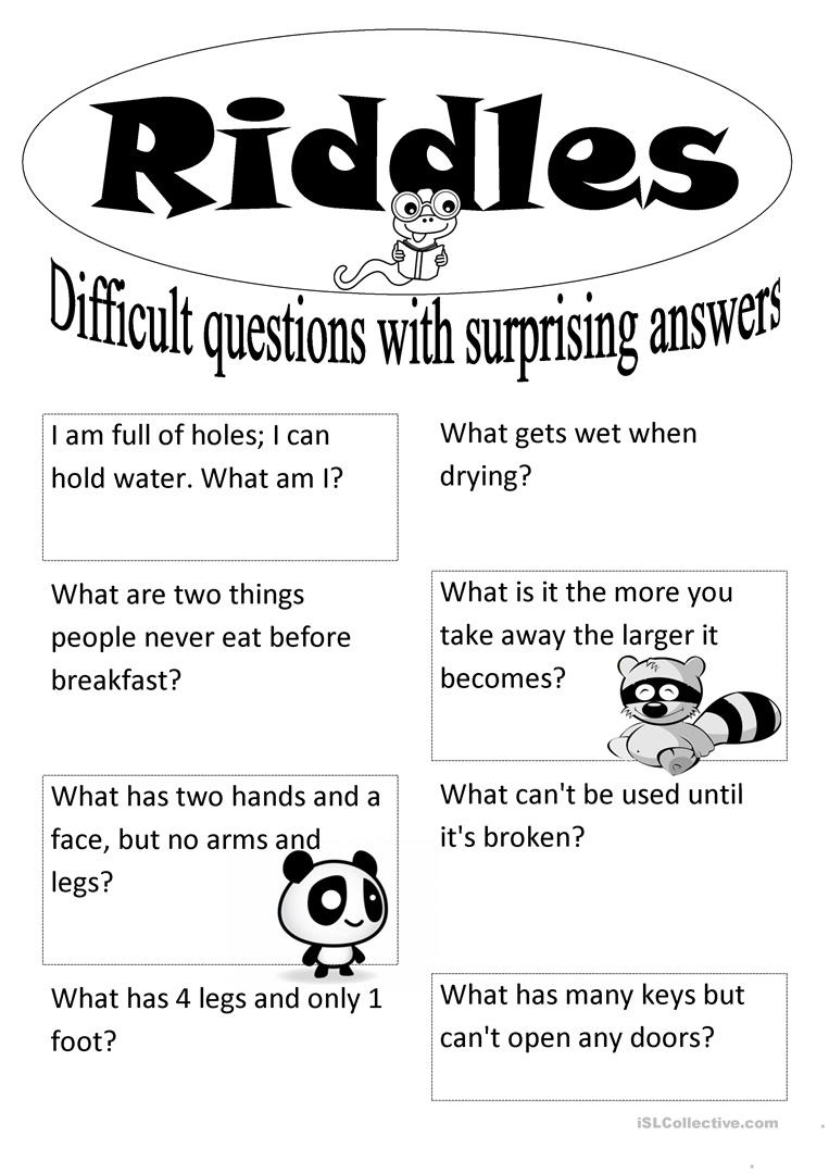 Riddles Worksheet - Free Esl Printable Worksheets Madeteachers - Free Printable Riddles With Answers
