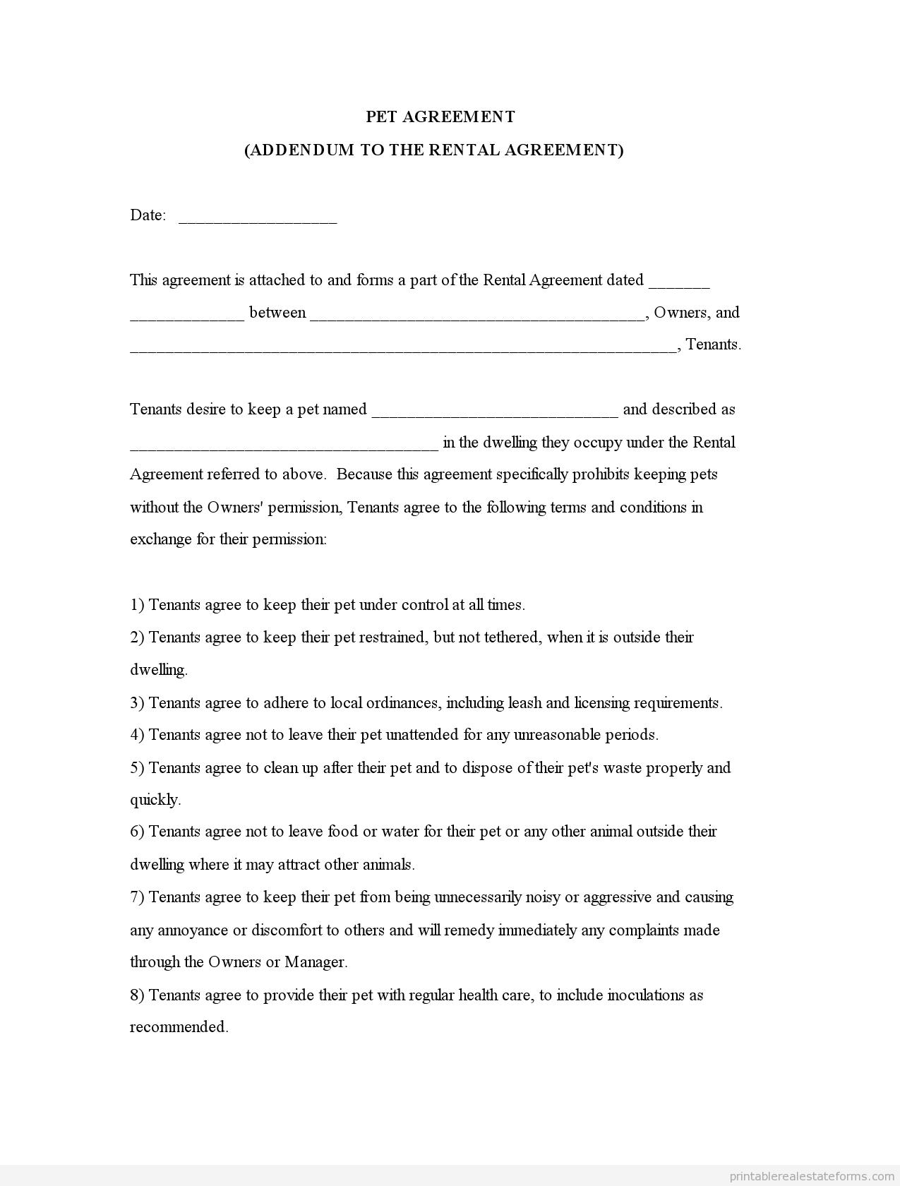 Sample Printable Pet Agreementm Addendum To The Rental Agreement - Free Printable Pet Addendum