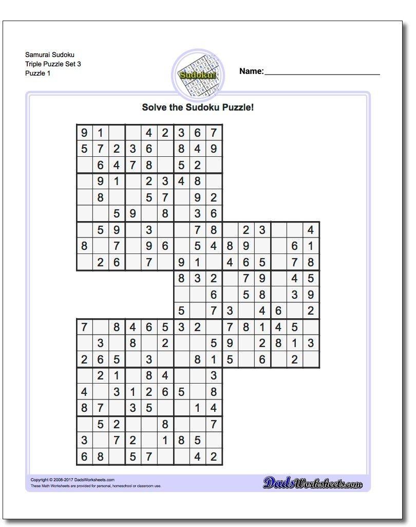 Samurai Sudoku Triples | Math Worksheets | Sudoku Puzzles, Puzzle - Free Printable Samurai Sudoku