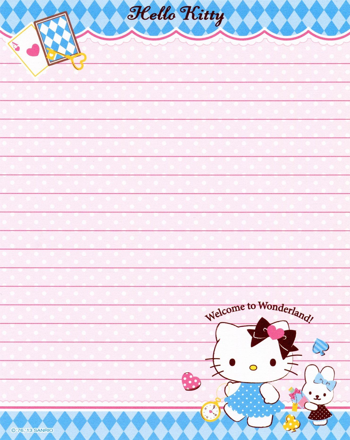 Sanrio - Hello Kitty - Memo Paper | Tags | Sanrio Hello Kitty, Hello - Free Printable Hello Kitty Stationery