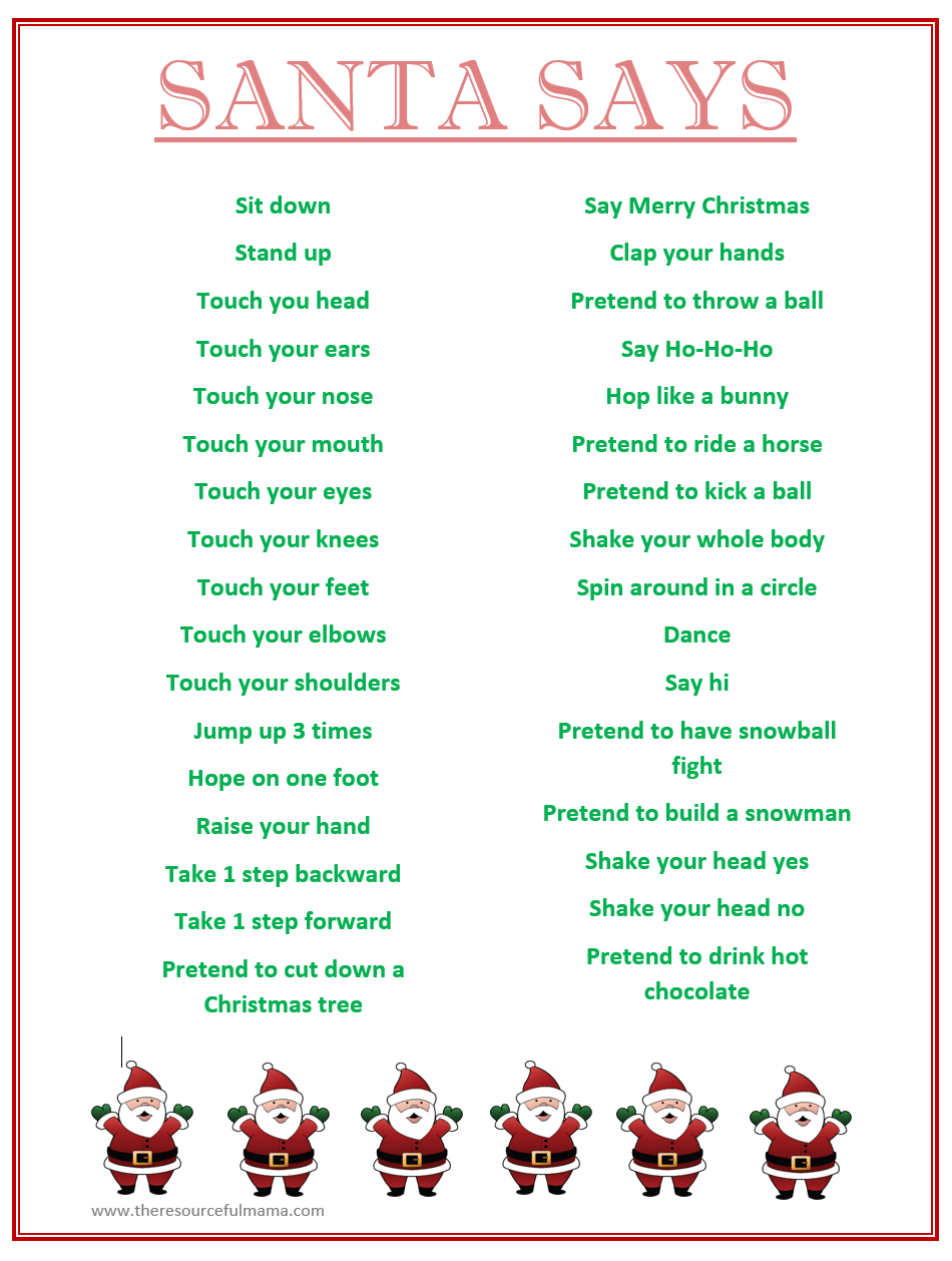 Santa Says Game For Christmas Parties {Free Printable}   Kid Blogger - Free Printable Christmas Activities