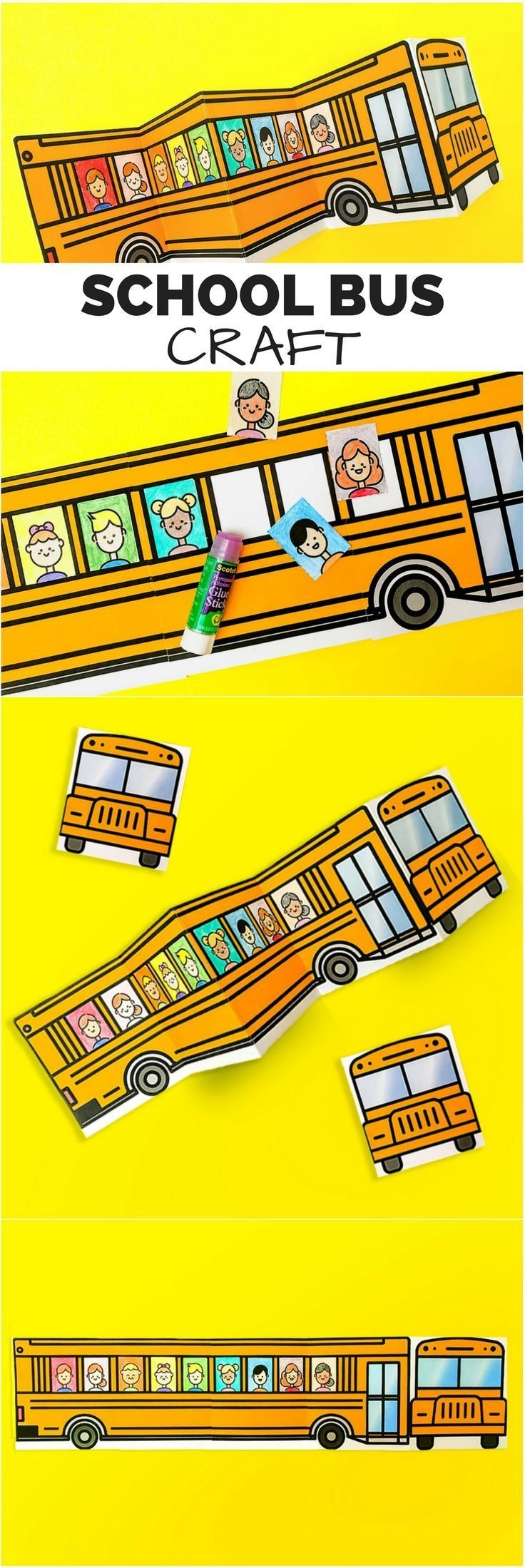 School Bus Of Friends Free Printable | Easy Crafts | School Bus - Free Printable School Bus Template