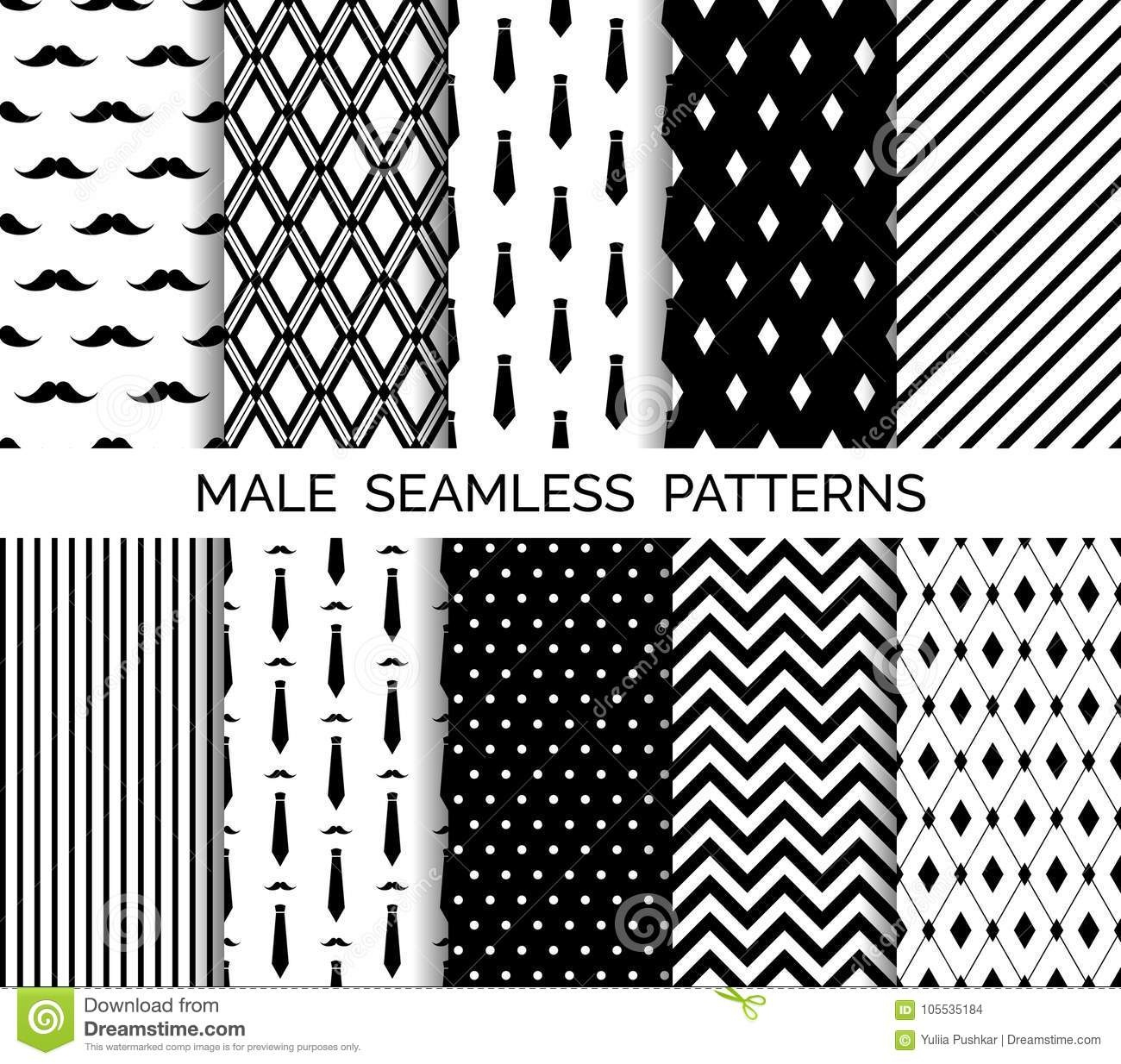 Set Of Printable Vector Male Seamless Patterns. Black And White - Free Printable Wallpaper Patterns