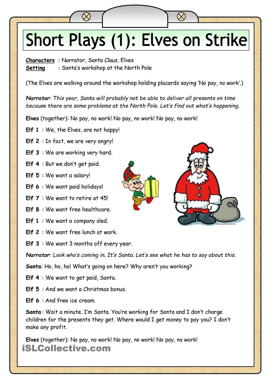 Short Plays (1): Elves On Strike   Teaching Kids   Esl   Christmas - Free Printable Christmas Plays For Sunday School