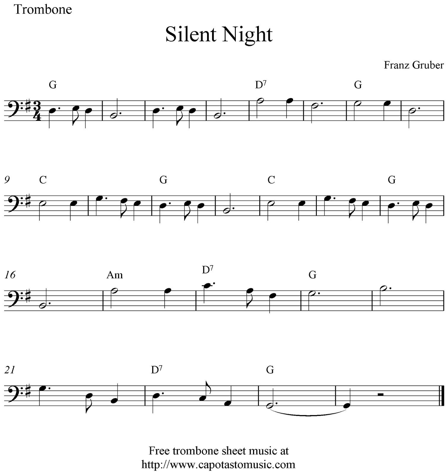 Silent Night, Free Christmas Trombone Sheet Music Notes - Trombone Christmas Sheet Music Free Printable
