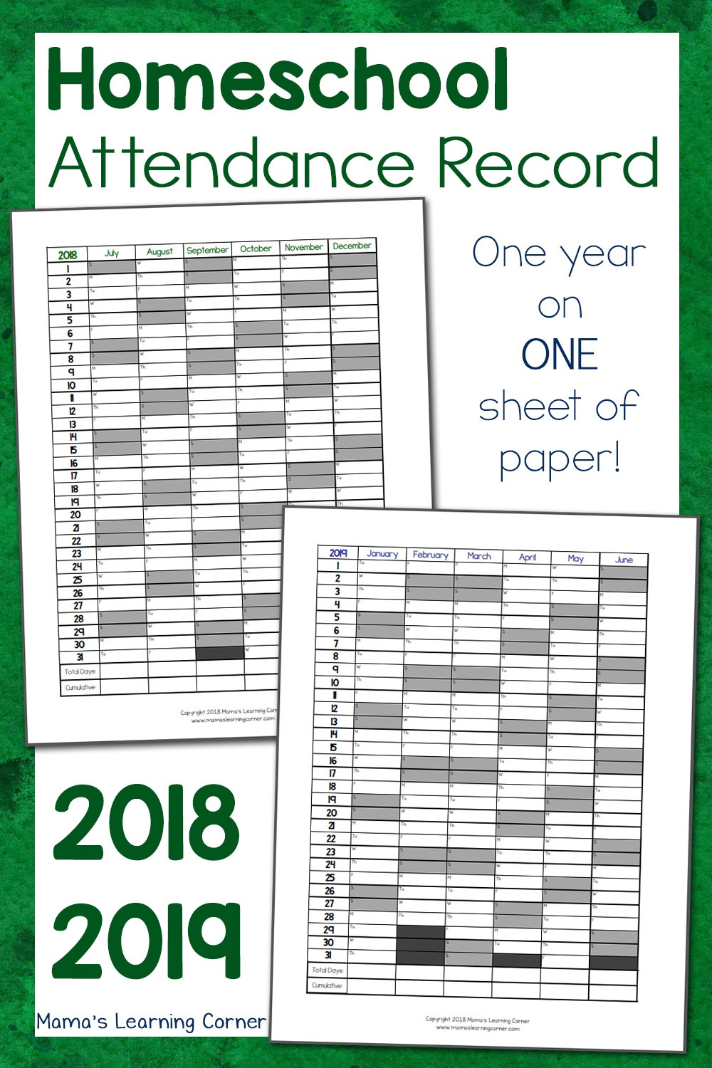 Simple Homeschool Attendance Record 2018-2019 - Mamas Learning Corner - Free Printable Attendance Sheets For Homeschool