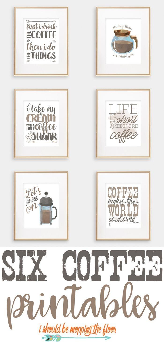 Six Coffee Printables | Printables | Coffee Bar Home, Coffee Nook - Free Printable Coffee Bar Signs