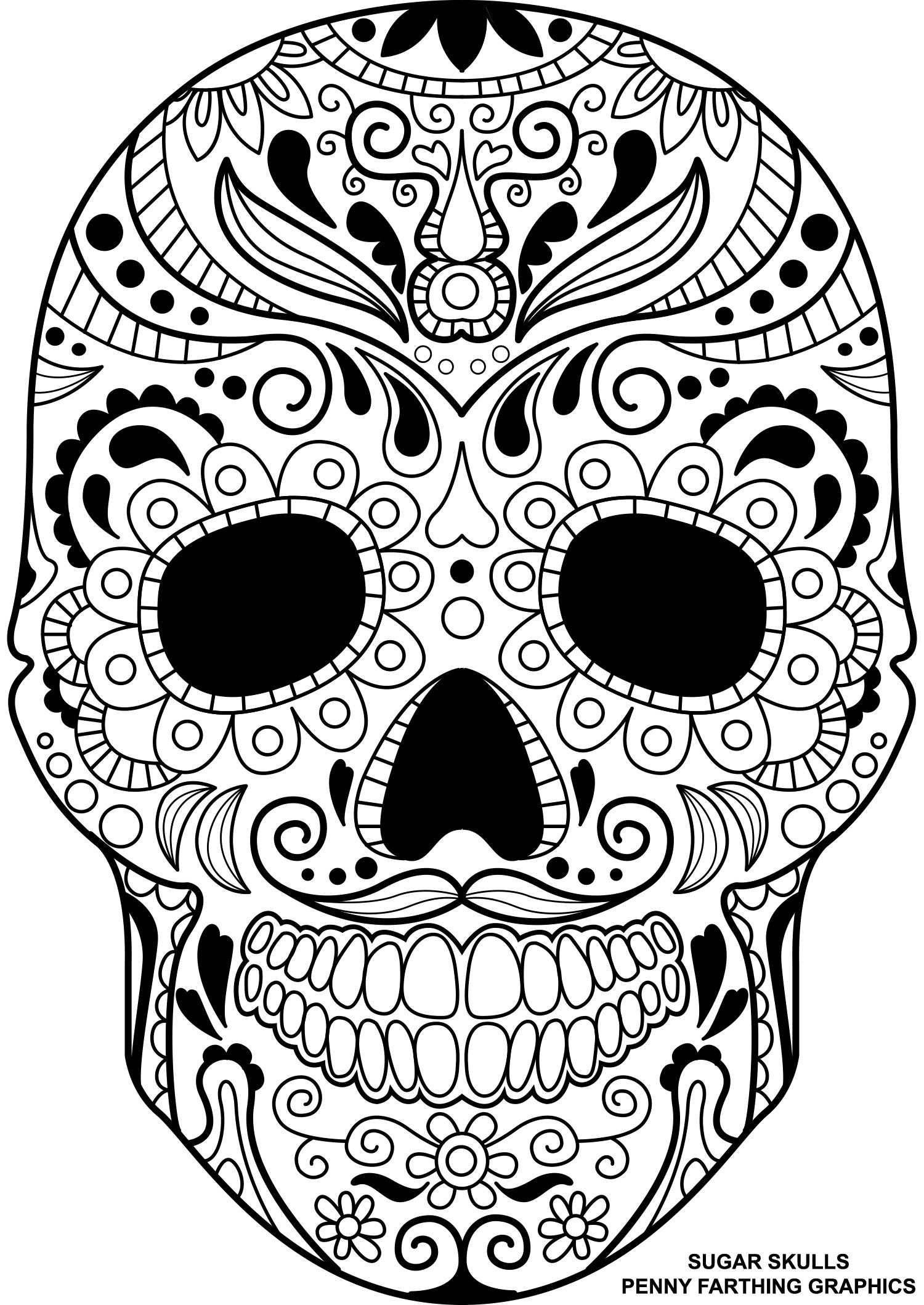 """Skull From """"Sugar Skulls - Day Of The Dead"""" Coloring Page 