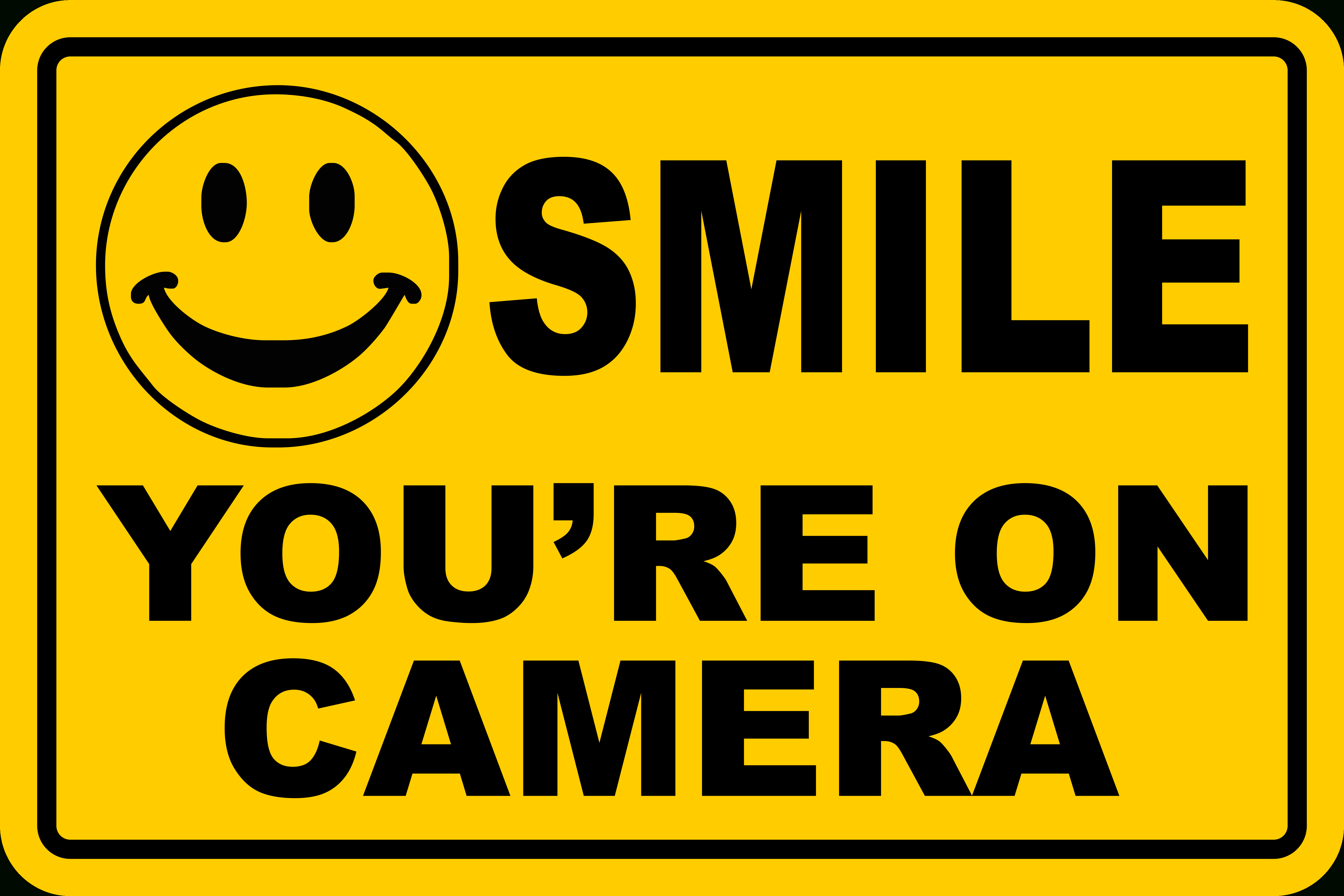 Smile You're On Camera Yellow Business Security Sign Cctv Video - Free Printable Smile Your On Camera Sign