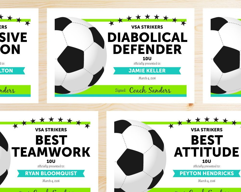 Soccer Award Categories | Ideas For The House | Soccer Training - Free Printable Soccer Certificate Templates