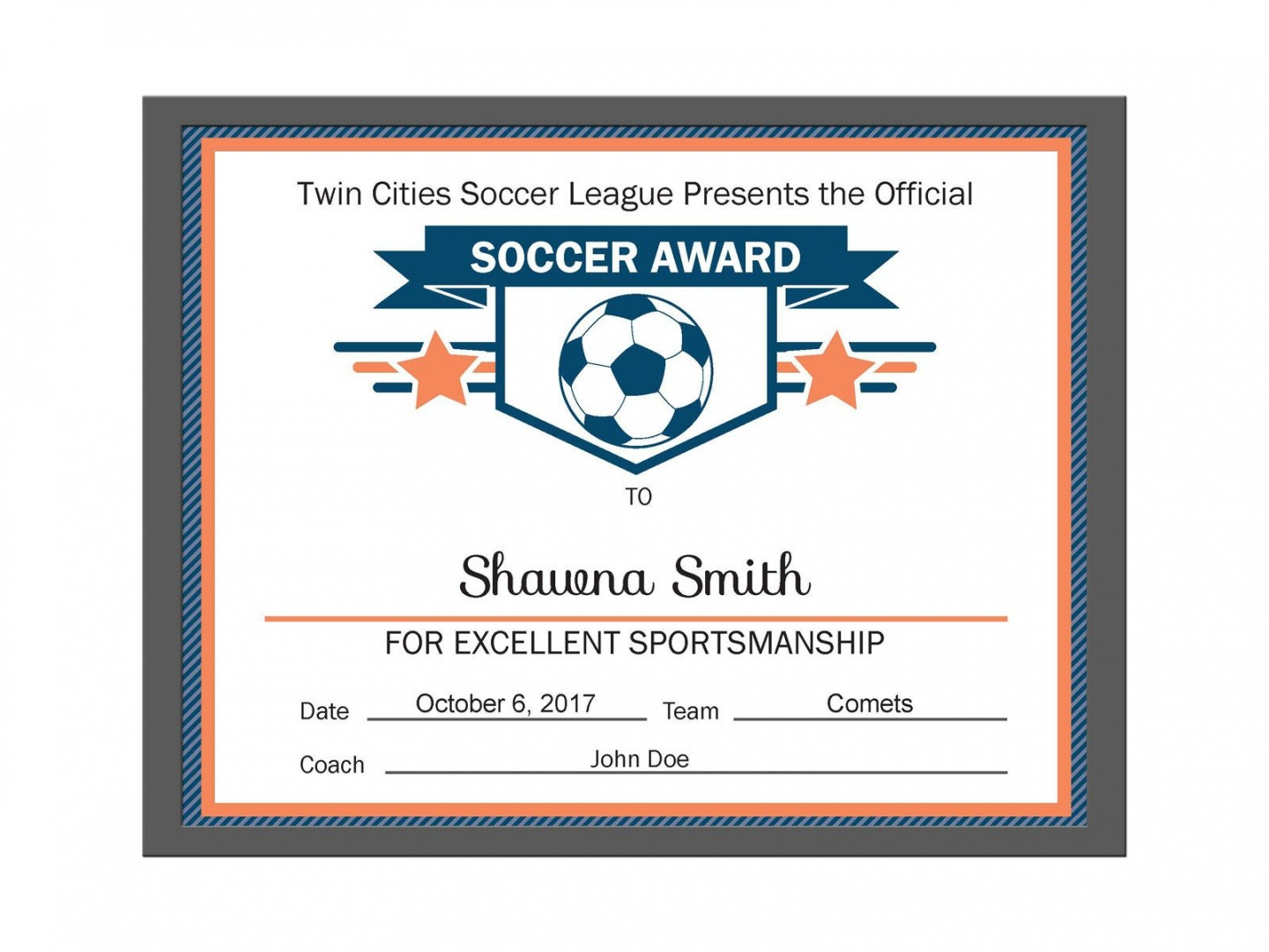 Soccer Certificate Template - Free Printable Soccer Certificate Templates