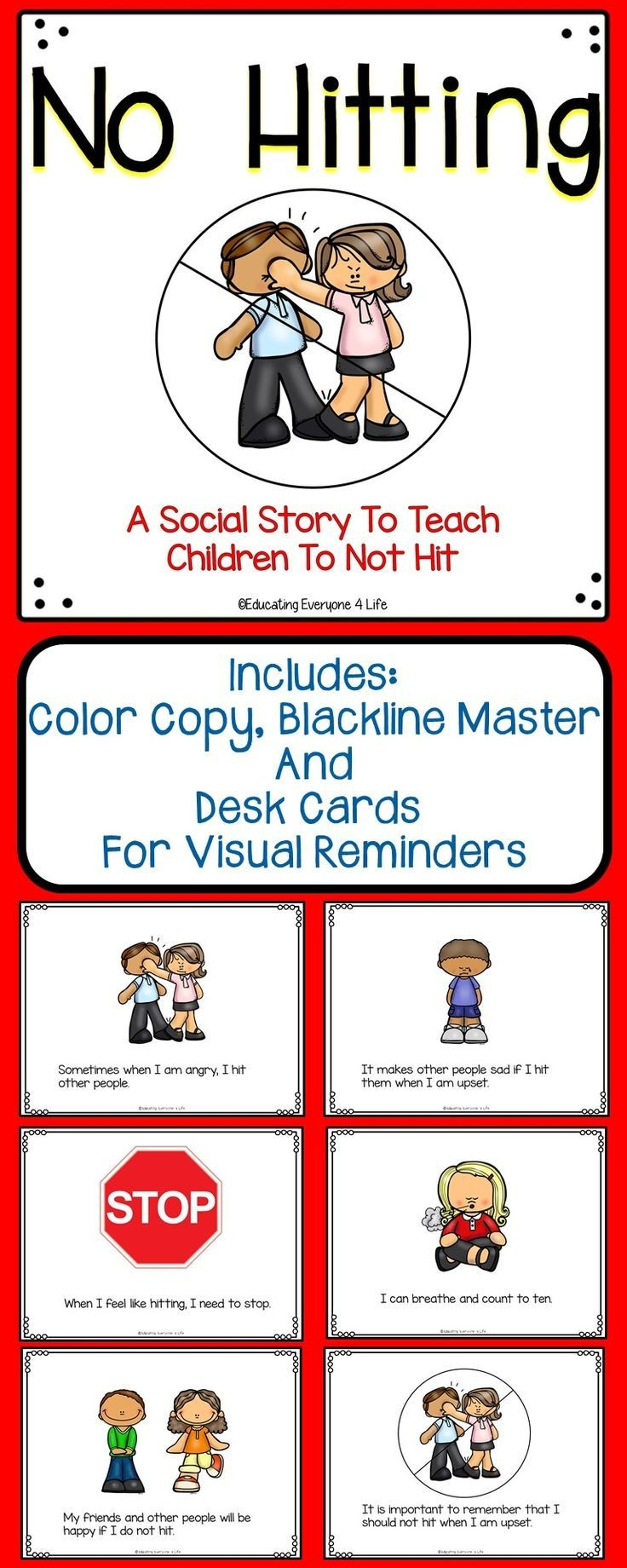 Social Story For Children - No Hitting   Classroom Management - Free Printable Social Stories Making Friends