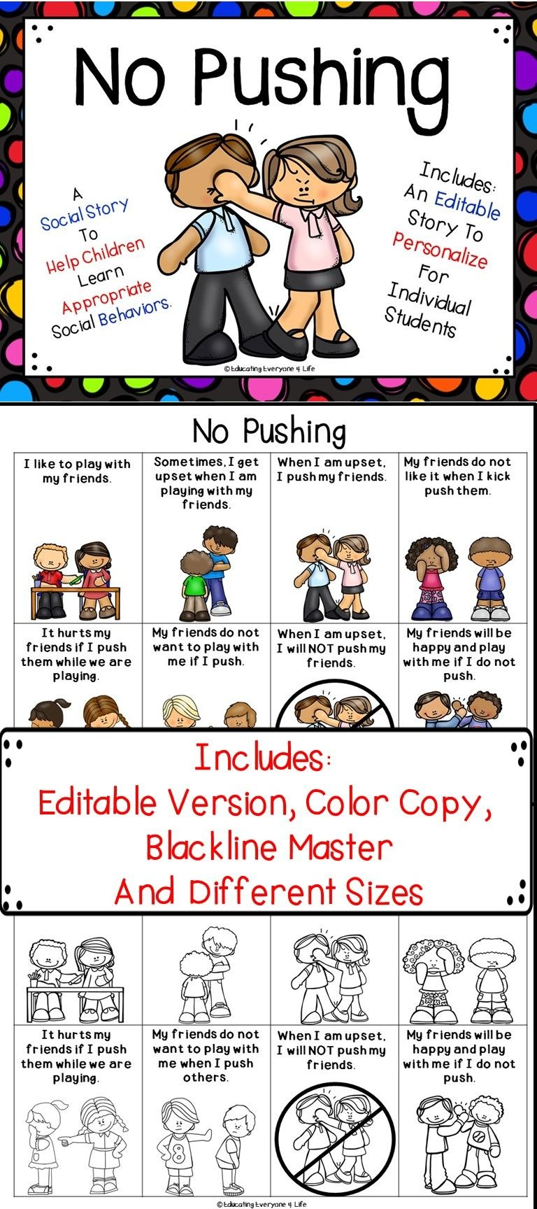 Social Story - No Pushing   All About Autism & Special Needs - Free Printable Social Stories Making Friends