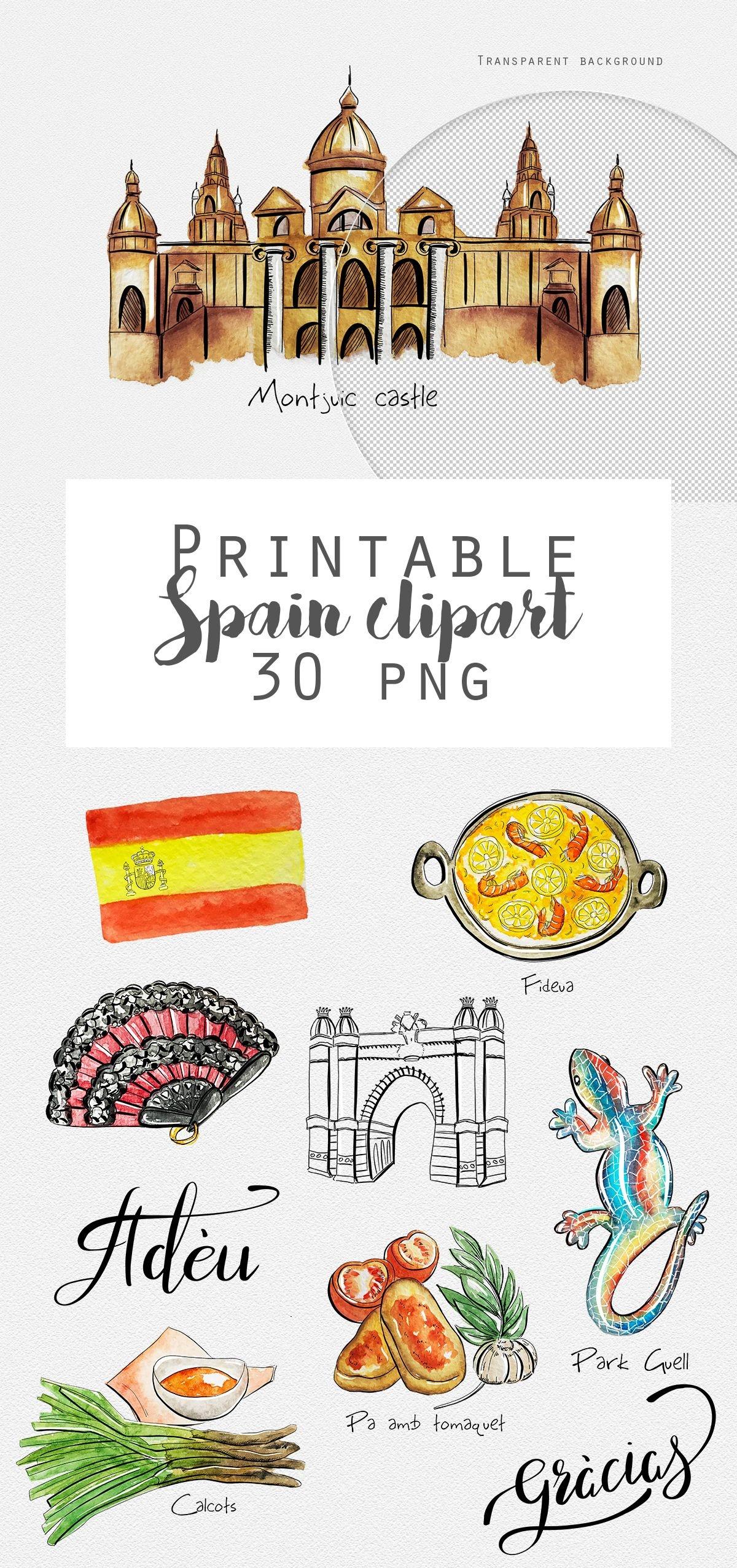 Spain Travel Stickers Printable Barcelona Madrid Digital Stickers - Free Printable Travel Stickers