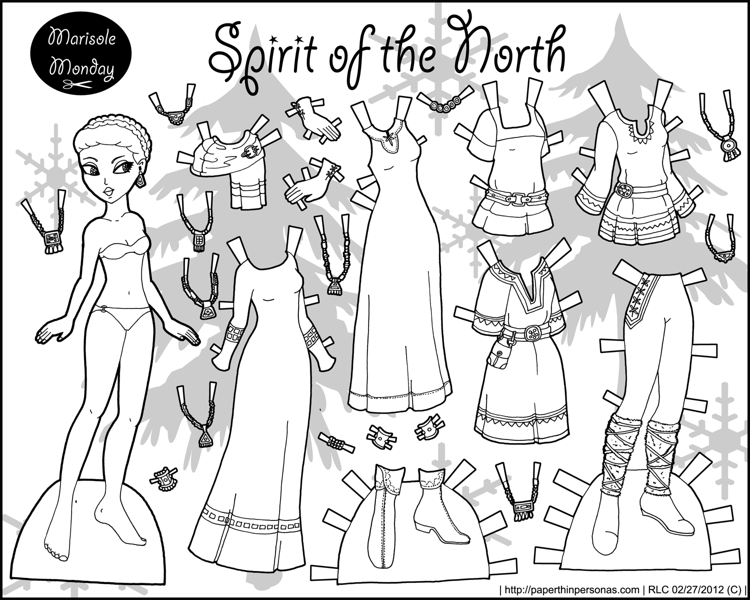 Spirit Of The North: Black And White Printable Paper Doll • Paper - Free Printable Paper Dolls