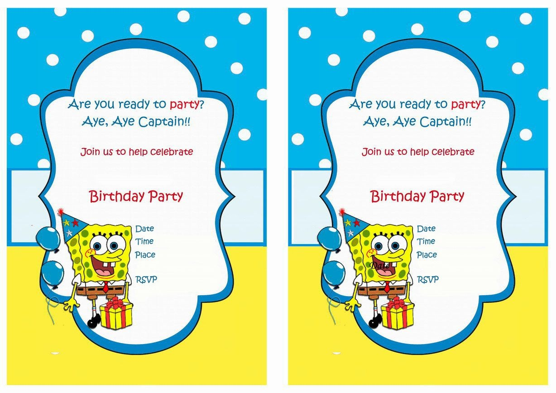 Spongebob Free Printable Birthday Party Invitations | Birthday Party - Spongebob Free Printable Invitations