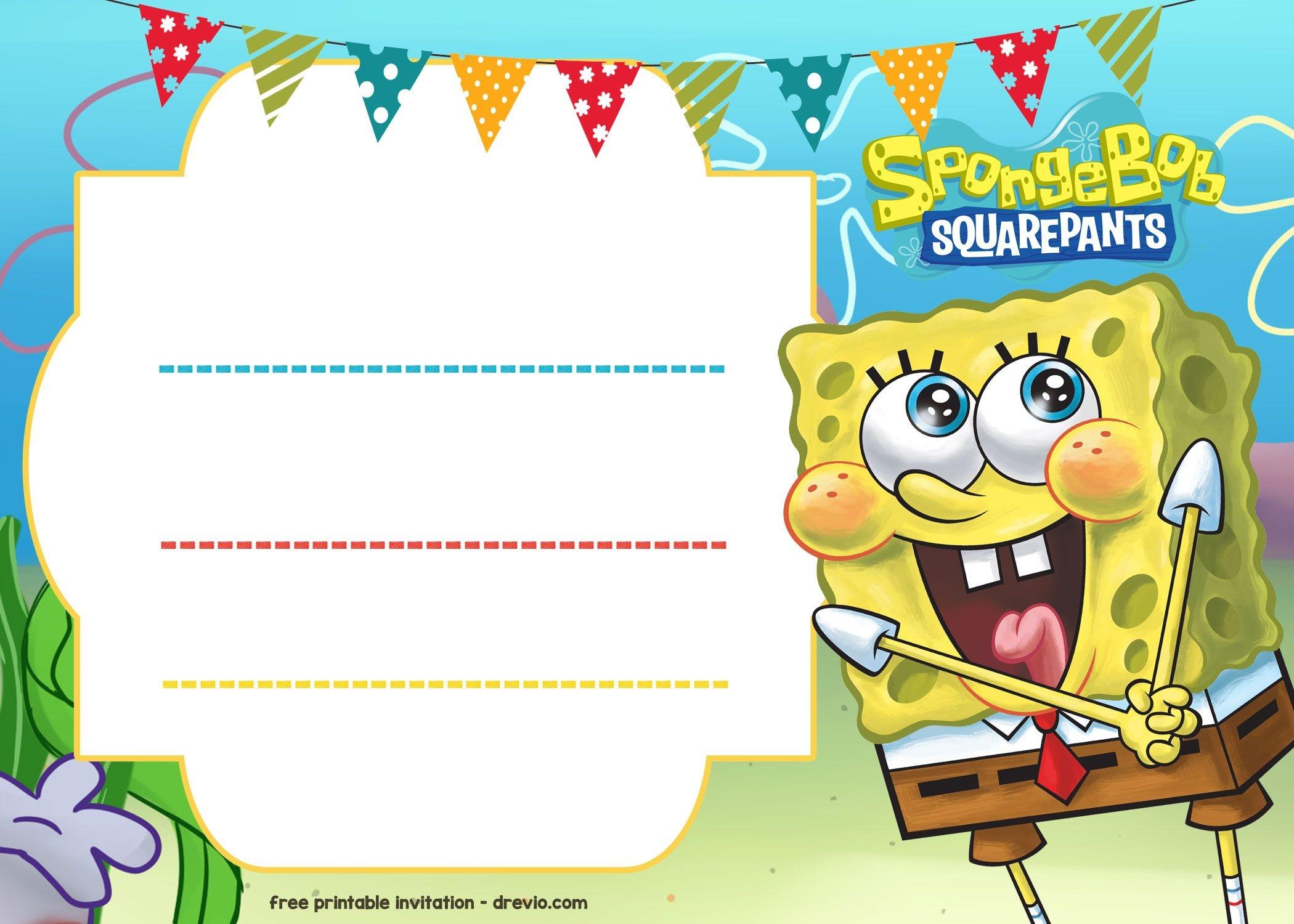 Spongebob Invitation Template • Invitation Template Ideas - Spongebob Free Printable Invitations