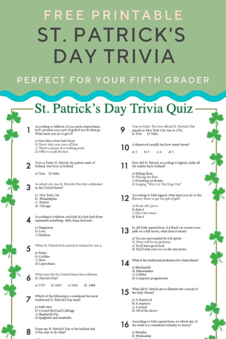 St. Patrick's Day Trivia | St. Patrick's Day | St Patrick's Day - Kwanzaa Trivia Free Printable