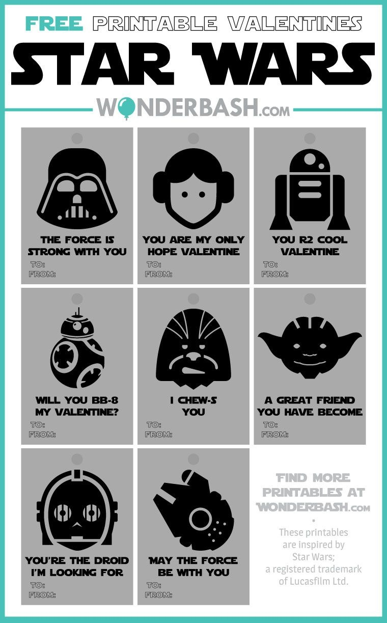 Star Wars Valentines Printables Free Download   Wonderbash - Free Printable Lego Star Wars Valentines