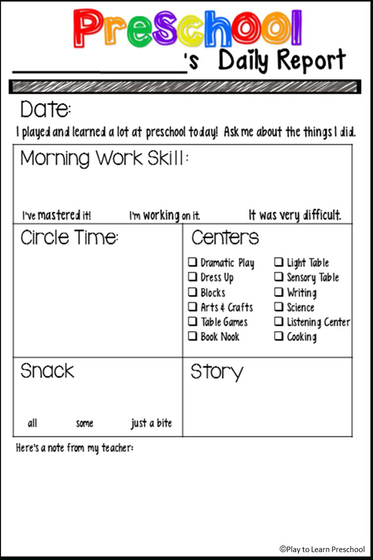 Students' Stuff | Preschool Fun | Preschool Daily Report, Preschool - Preschool Assessment Forms Free Printable