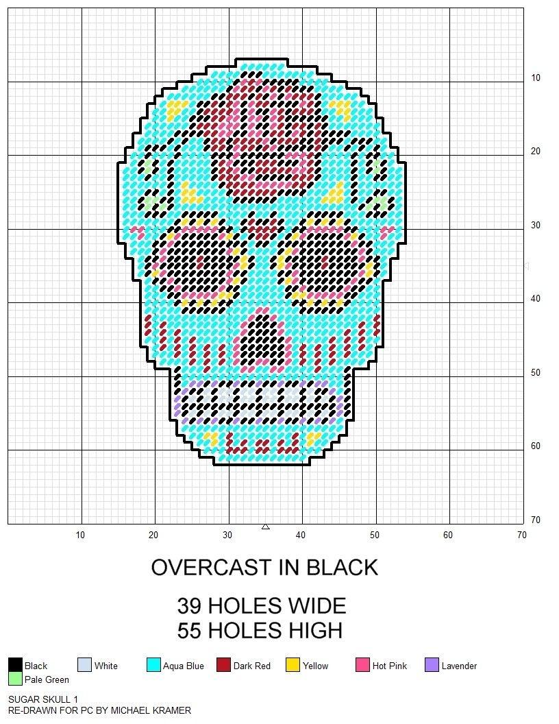Sugar Skull Plastic Canvas Pattern | Various Plastic Canvas Patterns - Printable Plastic Canvas Patterns Free Online