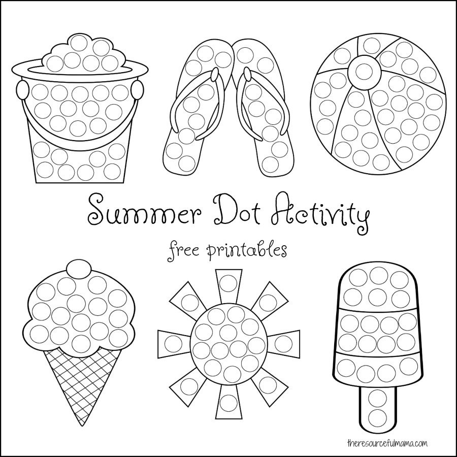 Summer Dot Activity {Free Printables} - The Resourceful Mama - Do A Dot Art Pages Free Printable