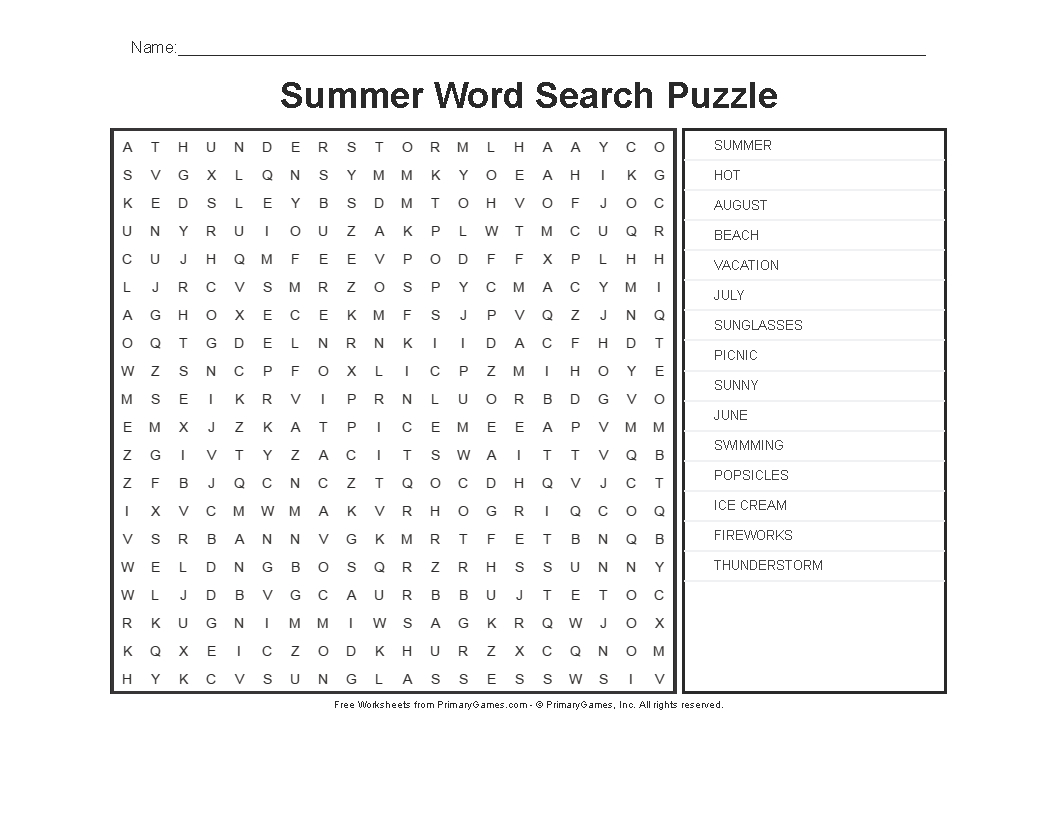 Summer Worksheets: Summer Word Search Puzzle - Primarygames - Play - Free Printable Summer Puzzles