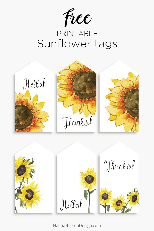 Sunflower Tags   Printables   Free Printable Gift Tags, Free - Free Printable Sunflower Template