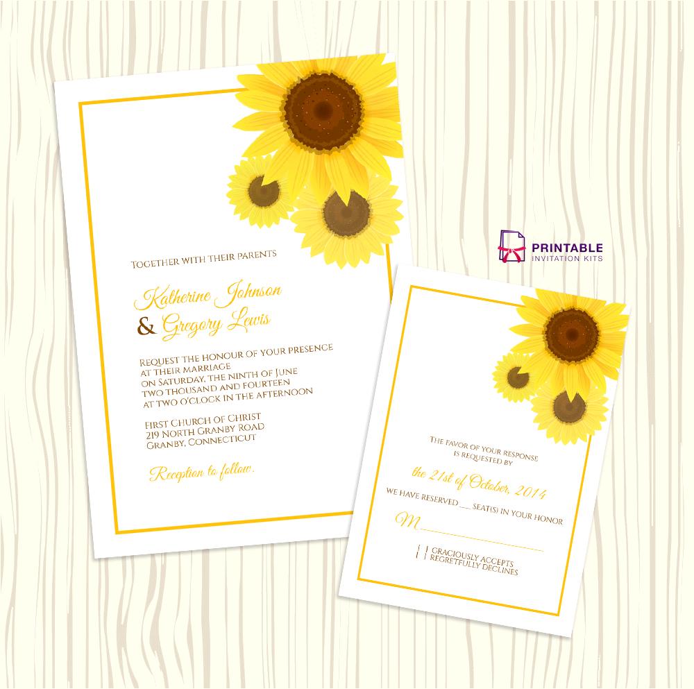 Sunflower Wedding Invitation + Rsvp Templates ← Wedding Invitation - Free Printable Sunflower Template