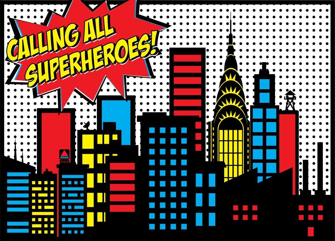 Superhero Birthday Package | Superhero | Superhero City, Superhero - Free Printable Superhero Skyline
