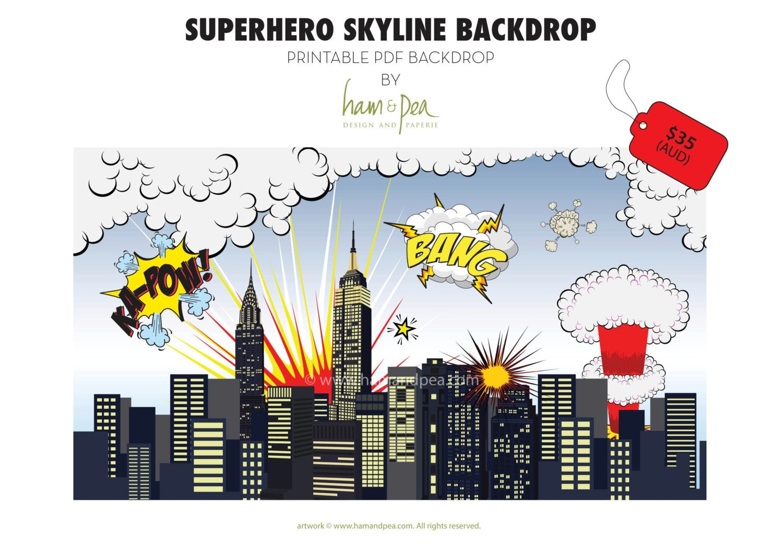 Superhero Skyline Explosion Backdrop Pdf File | Etsy - Free Printable Superhero Skyline