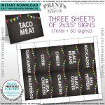 Taco Bar Labels, Taco Bar Menu Fiesta Mini Menu Taco Labels, Taco   Free Printable Taco Bar Signs
