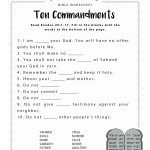 Ten Commandments Worksheet For Kids | Junior Church | Bible - Free Printable Children's Church Curriculum