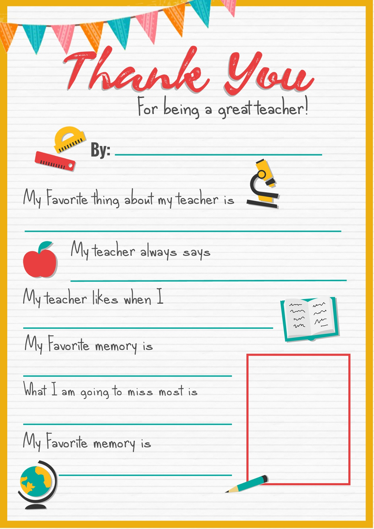 Thank You Teacher - A Free Printable   Stay At Home Mum - All About My Teacher Free Printable
