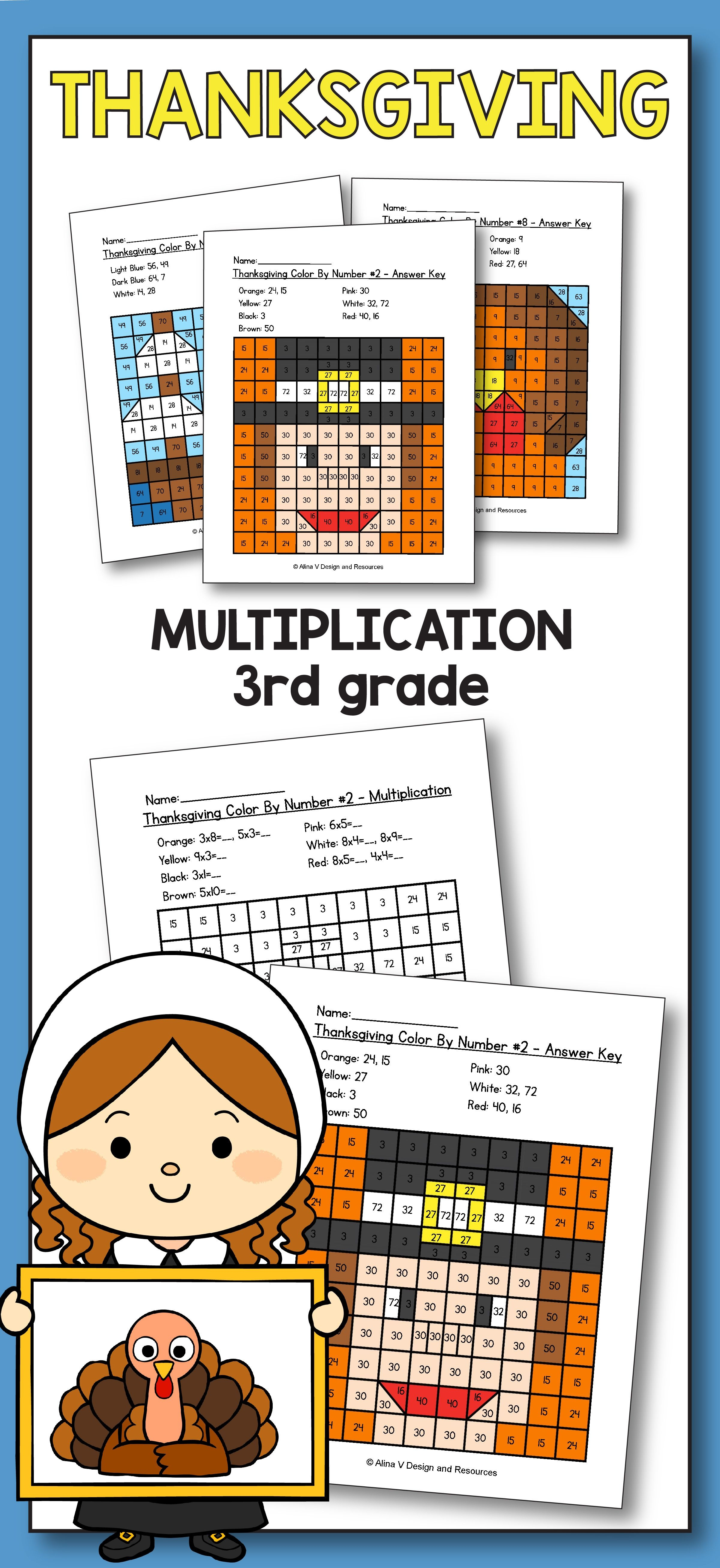 Thanksgiving Colornumber 3Rd Grade - Thanksgiving Math - Free Printable Thanksgiving Math Worksheets For 3Rd Grade