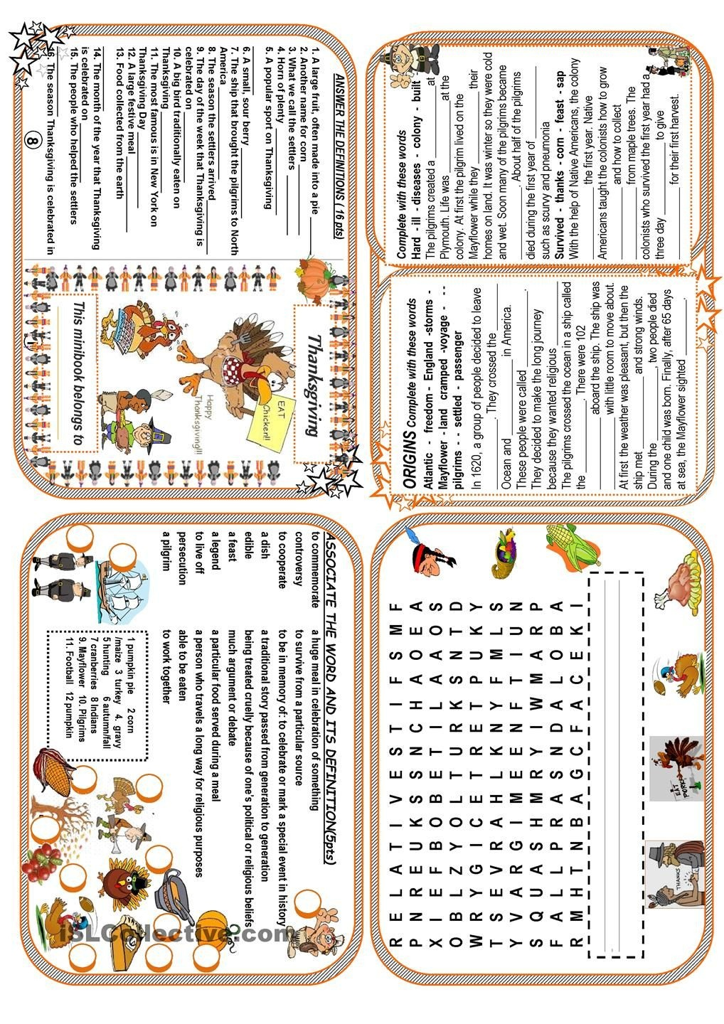 Thanksgiving Minibook   Esl Worksheets Of The Day   Thanksgiving - Free Thanksgiving Mini Book Printable