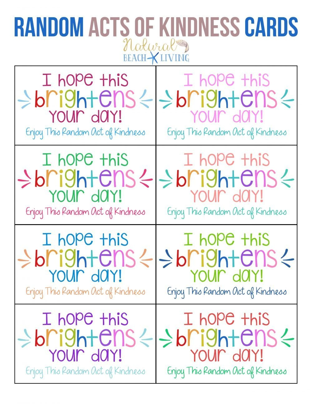 The Best Random Acts Of Kindness Printable Cards Free   Girl Scouts - Free Printable Kindness Cards