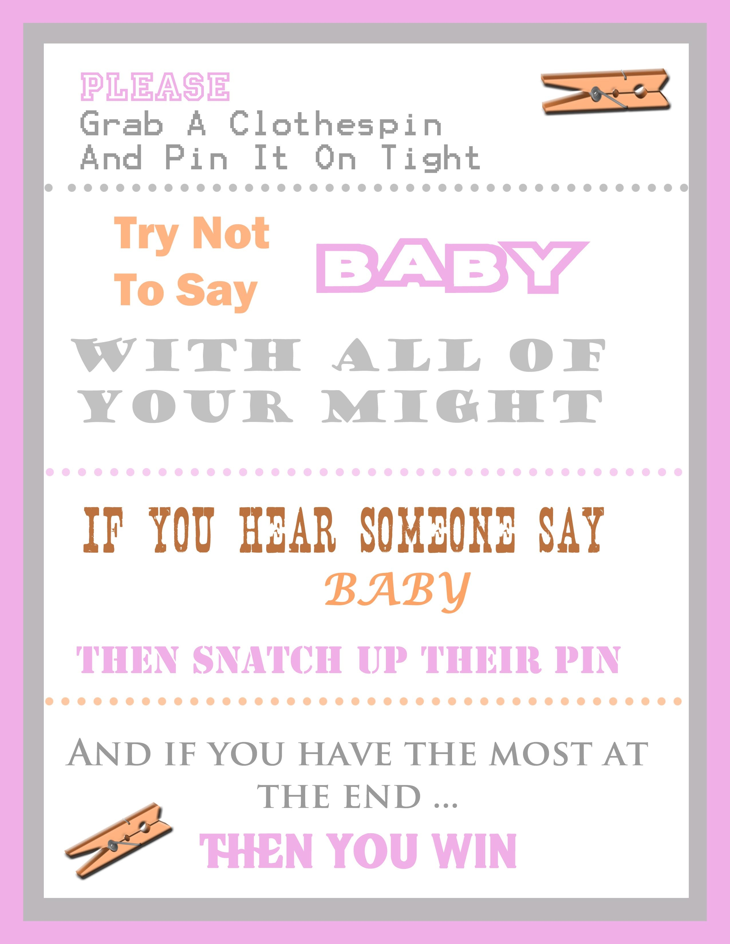The Clothespin Baby Shower Game - Free Printable Templates For Baby Shower Games